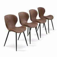Set of 4 Kitchen Dining Chairs with Washable Pu Cushion Seat for Dining Room