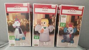3 - Gemmy Christmas Inflatable 3.5 ft Holiday Time RARE UNICORN, Angel & Elephan
