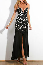 Maxi Abito lungo ricamato pizzo Aderente Spacco Nudo Floral Lace Evening Dress