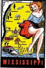 Mississippi  Pin-Up Girl Vintage Style Travel Decal sticker label Jackson Biloxi