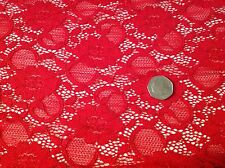 """NEW Designer Red Stretch Floral Corded Lace Fabric 60"""" 152cm Rachael Scarlet Sew"""