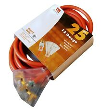 25-Foot 12 Gauge Triple Tap Extension Cord Lit Ends NEW 12/3 25 Ft Feet