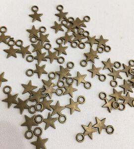 Star Charms X 50 Bronze Tone 10mm X 12mm Jewellery Making Charm -new