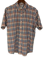 LL BEAN Mens Large S/S Wrinkle Free Shirt Button Down Plaid Red/Blue/White