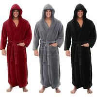 Men's Bath Robe Coat Hooded Bathrobe Cloak Soft Winter Warm fleece Dressing Gown