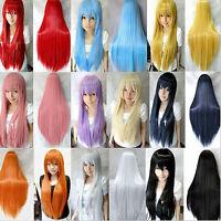 "32"" Fashion Women Girl Long Straight Hair Anime Cosplay Party Full Wig Hair"