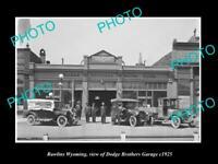 OLD POSTCARD SIZE PHOTO RAWLINS WYOMING VIEW OF DODGE Bros MOTOR GARAGE c1925