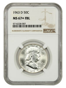 1963-D 50c NGC MS67+ FBL - Tied for Finest Known! - Franklin Half Dollar