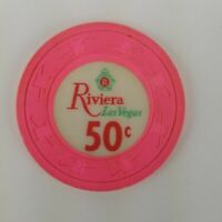 Riviera Hotel .50¢ Casino Chip Red Green Crest Hot pink from the 1960's
