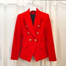 Or Rouge Bouton BALMAIN Blazer Jacket Brand New Handmade Tailles 8-10-12-14