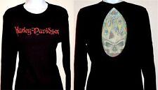 Harley Davidson Skull Graphic LS Black Cotton Top w Sheer Tattoo Back Insert XL