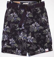 NWT Men's Urban Pipeline Belted Cargo Shorts Classic Length 32  Dark Gray Floral
