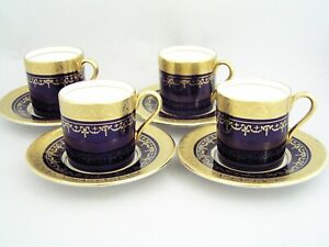 FOUR AYNSLEY GEORGIAN COBALT HEAVY GILDED DEMITASSE COFFEE CUPS/CANS & SAUCERS