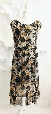 VINCE CAMUTO Camo Floral Flowy Long Maxi Dress Sz 12/L Green/Black Sleeveless