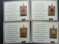 4 Personalised Thank You Teacher Poem Gift Magnet. Forget-me-not Seeds Nursery