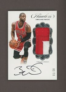 2016-17 Panini Flawless Dwyane Wade 3-Color Patch Signed AUTO 1/20
