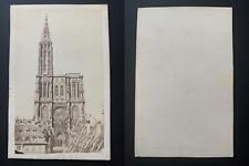 France, Strasbourg, cathédrale Notre-Dame Vintage albumen print CDV.  Tirage a