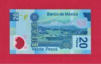 Mexico UNC Polymer Note 20 Pesos 2017 Series AD (P-122ad) Sign: Rabiela &Legaspi