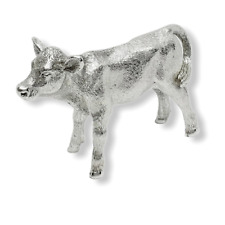 More details for english made large solid sterling silver calf cow animal model figure hallmarked