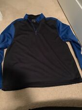 Jos A Bank Mens Xl Blue & Black Golf Pullover Quarter Zip Polyester Long Sleeve