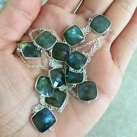 """NATURAL CUSHION BLUE LABRADORITE 925 STERLING SILVER LONG CHAIN NECKLACE 36"""""""