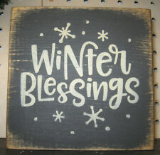 PRIMITIVE  COUNTRY  WINTER BLESSINGS mini  sq   SIGN