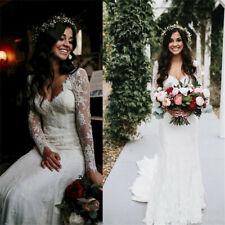 Weiß Meerjungfrau Brautkleid Ballkleid Spitze Strand Hochzeitskleid 32 34 36 38