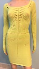 Womens Venus Bright Lime Green Bodycon Sweater Dress Crochet Long Sleeves Sz XS