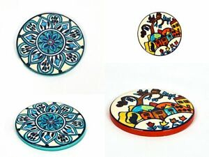 Home Decorative Small Round Shape Hand Painted Ceramic Side Plate Set  Of 4