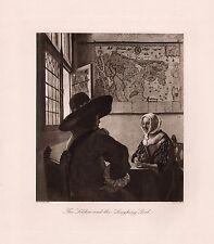 """1800s JOHANNES VERMEER Antique Print """"Officer & Laughing Girl"""" Signed FRAMED COA"""