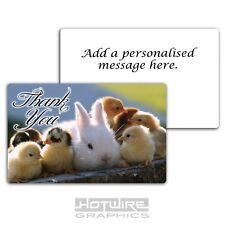 THANK YOU Card (PVC Plastic) - White Rabbit & Baby Chicks - PERSONALISED Gift!