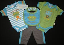 Baby Boys Romper Bodysuit Duck Duck Goose Four Piece Set Bib Bottoms Monster 000
