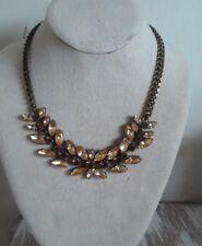 Fossil Brand women's Necklace Rhinestone Bib Brown Antiqued Statement Office