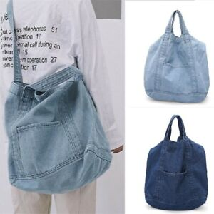 Women Casual Canvas Denim Tote Bag Large Capacity Handbag Girls Shoulder Bag