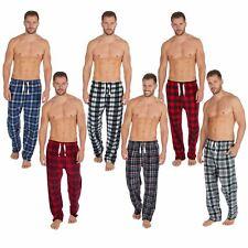 Mens Fleece Check Lounge Pants/Pyjama Bottoms Red Size S-2XL NEW