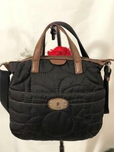 FOSSIL Key Per Black Quilted Brown Trimmed Carry on/ Crossbody Shoulder Bag