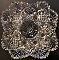 Antique ABP CUT LEAD CRYSTAL GLASS Low CANDY BOWL 4-Sided Star Fans CrissCross