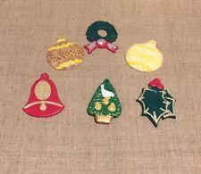 Vintage Hand Made Plaster Christmas Tree Ornaments Set Of 6