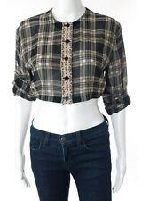 Gianni Versace Silk Black Beige Plaid Sleeve Sheer Crop Top Blouse Italian 42