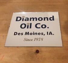 Diamond Oil Company Co. Mirror Sign Vintage Des Moines Iowa