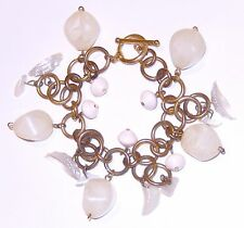 Faceted Lucite Shell Bead Bracelet Gold Tone Chain Bar Clasp
