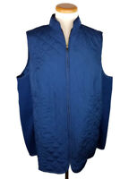 Woman Within Quilted Vest Size 18/20 L Zip Front Rib Knit Stretch Blue Diamond