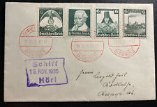 1935 Bodensee Germany Souvenir Cover Green Stamp Hori Ship Cancel
