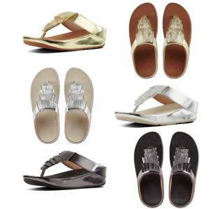 FitFlop Cha Cha Fringe Metallic Women's Toe Post Sandals £95