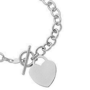 925 Sterling Silver Heart Tag Toggle Bracelet  8""