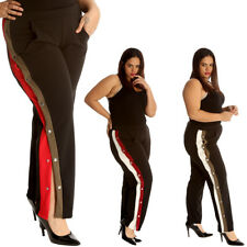 New Ladies Trousers Plus Size Womens Bottoms Popper Button Stripe Side Slit Sale