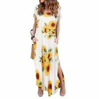 Party Womens evening dress cocktail sundress maxi long short sleeve summer beach