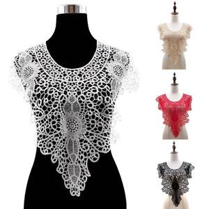 KQ_ Applique Floral Embroidery Lace Trim Clothes Sewing Patch DIY Neck Collar De