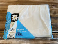 Vintage Penneys Fashion Manor Cotton Muslin White Double Bed Sheet New