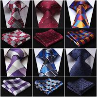"Check 3.4"" Silk Fashion Mens Extra Long Tie Necktie Handkerchief Set XL Ties#Q5"